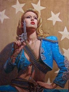 "Saatchi Art Artist Michael Foulkrod; Painting, ""Gun Control-Lou Lou Dvill-Vegas"" #art"