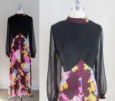 70s Polyester Maxi Dress Black Top Sheer Sleeves Brown Pink Floral Print Skirt L #Handmade