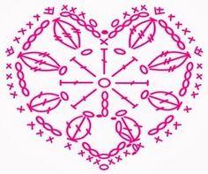 Corazones de ganchillo, Gráficos and Croché on Pinterest