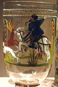 Hunt Goblet Bohemian 1576 by mharrsch. Art Decor, Decoration, Bohemia Crystal, Medieval Furniture, Style Retro, Enamel Paint, Drinking Glass, Objet D'art, Renaissance Art