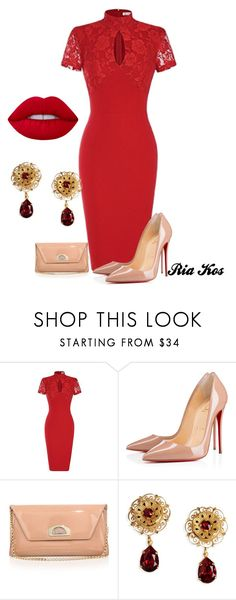 """red dress"" by ria-kos ❤ liked on Polyvore featuring Christian Louboutin, Dolce&Gabbana and Lime Crime"