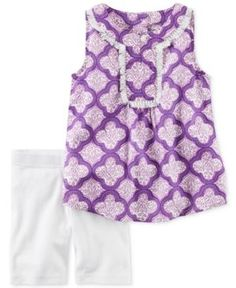 Carter's 2-Pc. Printed Fringe Tunic & Shorts Set, Toddler Girls (2T-4T) - Purple 4T