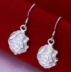 09fbae72c Rose Sterling silver plated earrings Condition : brand new, rose shaped drop  earrings Metal: 925 Sterling silver plated with 925 metal stamp Material:  tin ...