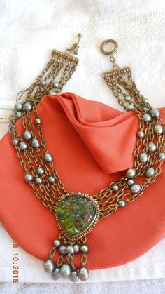 US $650.00     This auction is for a gorgeous Stephen Dweck statement necklace. It is an older one, purchased several years ago new, but never worn, in excellent condition. Stephen Dweck, Real Real, Jewelry Editorial, Pearl Grey, Polymer Clay Jewelry, Gemstone Jewelry, Jewelry Design, Shops, Bronze