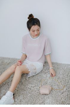 Korean Fashion - Pink t-shirt + white lace skirt suit