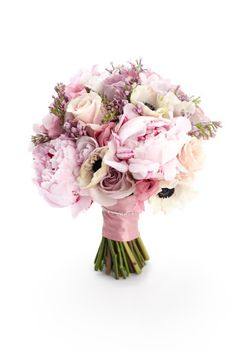 Hand-tied bouquet of 'Memory Lane' and 'Sweet Avalanche' roses, 'Sarah Bernhardt' peonies, anemones, freesias, lisianthus and lilac, Hayford & Rhodes
