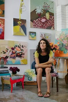 Artist Laura Jones in her Sydney studio.