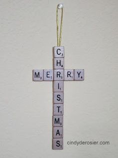 Scrabble cross with photo tutorial. Cindy deRosier: My Creative Life: A Scrabble Merry Christmas Craft