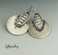Silver Earrings, Dangle Earrings, Drop Earrings, Metalsmith Earrings, Handmade Earrings by LjBjewelry on Etsy