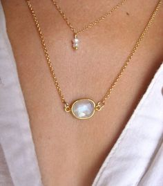 Rainbow MOONSTONE necklace thin gold necklace by SeaCastleDesigns