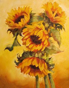 Nel's Everyday Painting: Sunflowers on Yellow - SOLD Sunflower Pictures, Sunflower Art, Watercolor Sunflower, Sunflower Paintings, Daffodils, Pansies, Lilacs, Vincent Van Gogh, Acrylic Painting Inspiration