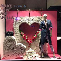 WEBSTA @ visual_window - ❤ Make LOVE not walls ❤ ......#windowdisplay #merchandising #amazing #sales #visualmerchandising #art #design #vm #store #diesel #zurich @flavia_aronne