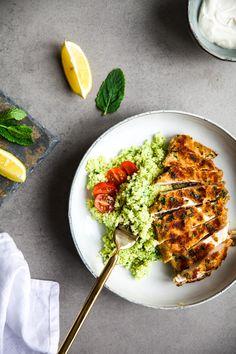 Minze-Spinat Couscous mit knusprigem Zitronen Hühnchen – ein kleines Mittagessen…