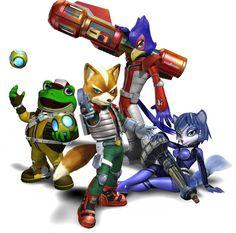 The Star Fox Team (Star Fox: Assault) Fox McCloud, Krystal, Falco Lombardi, and Slippy Toad