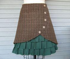 Wool plaid skirt with ruffles