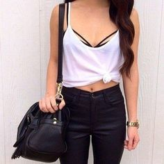black and white #fashion #outfit #stylisation #white #black #black and white #style #pants