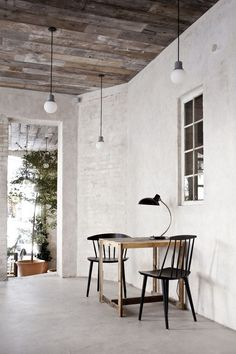 Host restaurant Copenhagen, Denmark - whitewashed brick, weathered wood - multi colours, gray brushed concrete, black scissor hanging lamps, wood accents, soft muted colour throws, solid gray or muted tone dishes and white dishes, clear jars/bottles, wooden cutting boards, trays ---PERFECT!