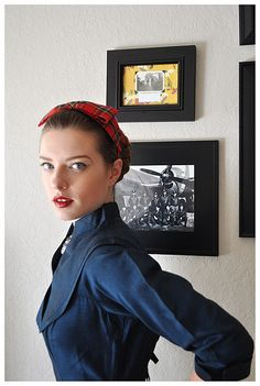 """This headband makes me think of """"Rosie the Riveter"""" from the We Can Do It! Poster.  I'm thinking this could be the start of a super easy Halloween costume."""