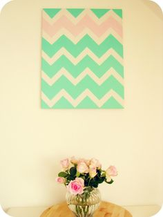 Chevron wall art DIY -- Dont like these colors though...