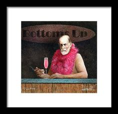 Art Framed Print featuring the painting Pink Freud... by Will Bullas Framed Art, Framed Prints, Palm Plant, Bar Art, Art Studies, All Wall, Frame Shop, Hanging Wire, How To Be Outgoing