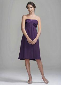 David's Bridal Bridesmaid Dresses Crinkle Chiffon Short Dress with Back Cascade Detail Style 83697 - List price: $120.00 Price: $99.00 Saving: $21.00 (18%)