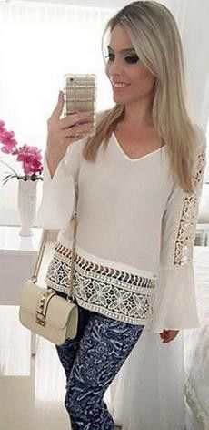 Hollow Out Falbala Scoop Lace Patchwork Blouse