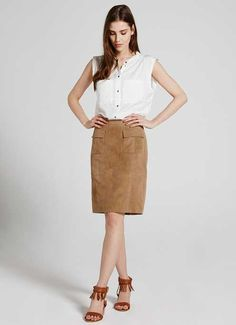 Camel Suede Pencil Skirt