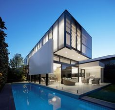 Celebrate Australia Day With These 14 Contemporary Australian Houses | The black and white exterior of this suburban Melbourne home matches the simplicity of the interior of the house but still makes a statement.