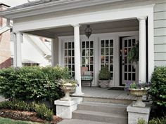 roof to cover the patio with beautiful french doors