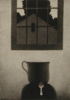 Interior Cup Spoon, mezzotint