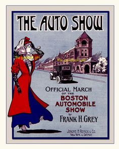 THE-AUTO-SHOW-Vintage-car-antique-old-fashioned-8x10-sheet-music-art-print