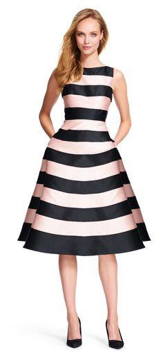 Striped Mikado Midi Dress with V-Back - Adrianna Papell