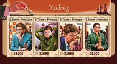 ST16417a Chess (Viswanathan Anand; Maxime Vachier-Lagrave; Vladimir Kramnik; Fabiano Caruana) Chess, Stamps, Plaid, Seals, Postage Stamps