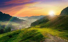 Góry, Lasy, Łąki, Miasteczko, Mgła, Tęcza, Promienie, Słońca