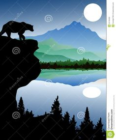 bear+silhouettes   Bear silhouette with landscape background