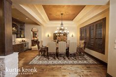 Mediterranean Dining Room Design, Pictures, Remodel, Decor and Ideas - page 24 Ceiling Crown Molding, Dining Room Design, Dining Rooms, Tuscan House, Tuscany, Chandelier, Ceiling Lights, Interior Design, Mirror