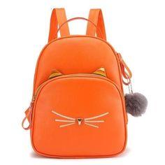 Women Rucksack Teenagers Backpack PU Leather School Bags for Girls Cartoon Cat Square Satchel Light Shoulder Bag Mochila Mujer - orange Women's Mini Backpack, Small Backpack, Backpack Bags, Ladies Backpack, Travel Backpack, School Bags For Girls, Girls Bags, Chain Shoulder Bag, Small Shoulder Bag