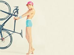 Model Alice Rausch shows off a Cervelo road cycle, Brooklyn cycle cap and Nike pro training shorts. Sharp magazine, 2012.