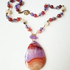 Agate pendant, gemstone chain necklace, vibrant colors!!!  Take a look!!! Handmade jewelry  Kimachka.etsy.com  #etsy #necklace #onlineshopping #glassart #glamour #bohostyle #boho #bohochic #gemstonejewelry #gemstones #gems #stone