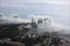 Clouds formed by the flow of a very humid air.