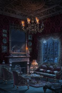 art, vampire, and castle room image Fantasy Places, Fantasy World, Dark Fantasy, Gothic Art, Victorian Gothic, Victorian Vampire, Victorian London, Victorian Costume, Gothic Horror