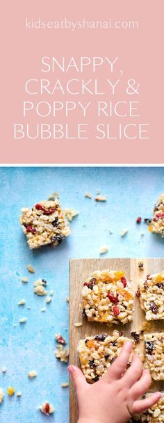 Rice Bubble Slice by Kids Eat by Shanai. Nut free so perfect for school lunchboxes healthy snacks for kids - easy Dinners For Kids, Kids Meals, Rice Bubble Recipes, Rice Bubble Slice, Healthy School Snacks, Healthy Kids Party Food, Healthy Lunchbox Snacks, Bento Lunchbox, Lunch Recipes