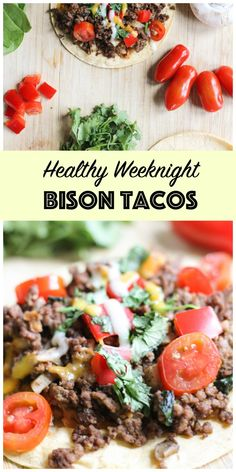 These healthy weeknight bison tacos are super easy to whip together! This dish is made with flavorful, lean bison meat and lots of added veggies. Healthy Beef Recipes, Healthy Tacos, Meat Recipes, Dinner Recipes, Ground Bison Recipes Healthy, Dinner Ideas, Game Recipes, Healthy Dinners, Fish Recipes