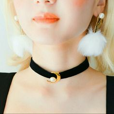 NEW MOON PEARL CHOKER Me in package velvet moon choker with pearl Reminds me of sailor moon   Unif dollskill  brandy Melville nasty gal missguided Jewelry Necklaces
