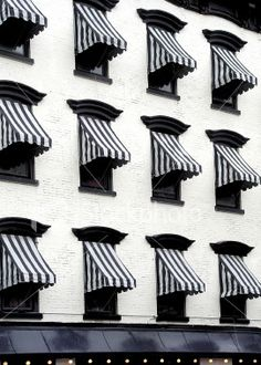 black + white striped awnings