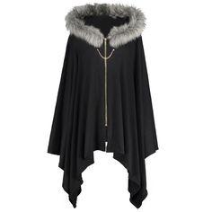 fbddcac04c1 Women s Vintage Coat Plus Size Cape Coat Asymmetric Faux Fur Panel Coat