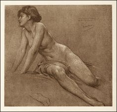 Figure study for The Chariot of Dawn    Herbert James Draper  I like his rough style, like mine you can see every stroke.