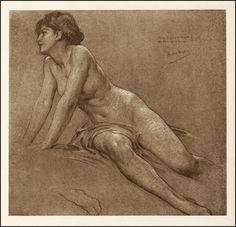 Figure study for The Chariot of Dawn    Herbert James Draper
