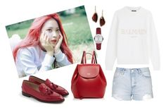 """""""Red Vel"""" by lovettaa on Polyvore featuring Burberry, Balmain, Topshop, J.Crew, Frances Valentine and Chloe + Isabel"""