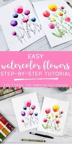 Easy Watercolor Flowers Step by Step Tutorial. Learn how to paint these lovely florals with a detailed step by step lesson from Torrie of Fox + Hazel. drawing easy Easy Watercolor Flowers Step by Step Tutorial Watercolor Painting Techniques, Watercolor Projects, Watercolour Tutorials, Watercolor Cards, Watercolour Painting, Floral Watercolor, How To Watercolor, Watercolor Flowers Tutorial, Painting Art
